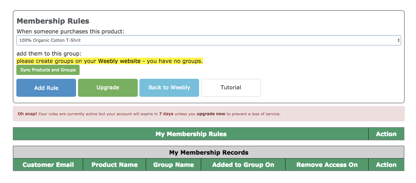 Paid Membership app management page